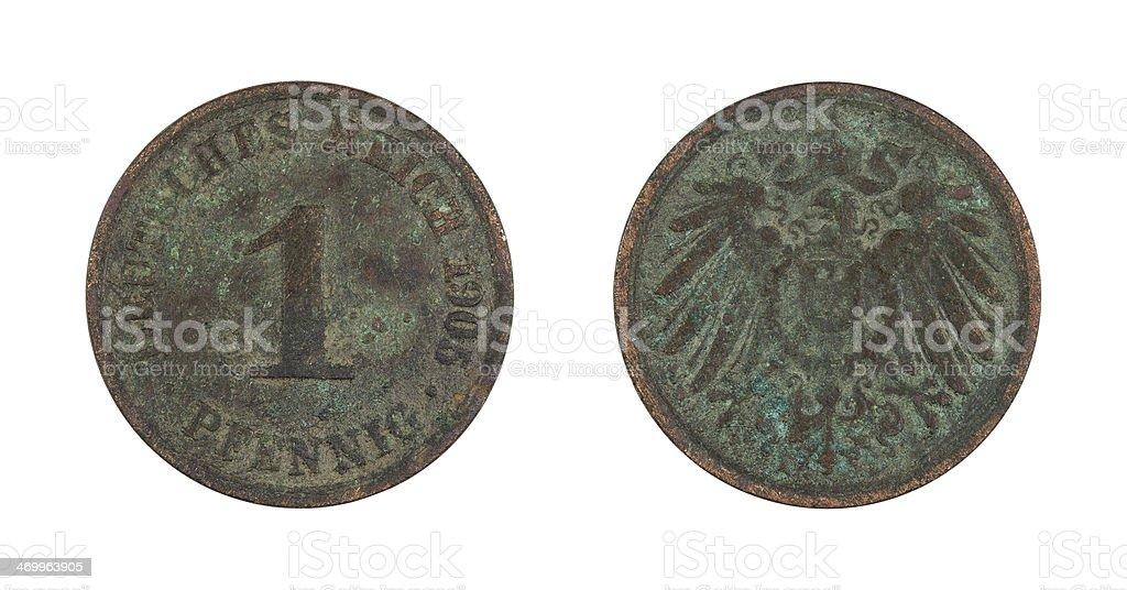 1-Pfennig-Coin, German Empire, 1905 stock photo