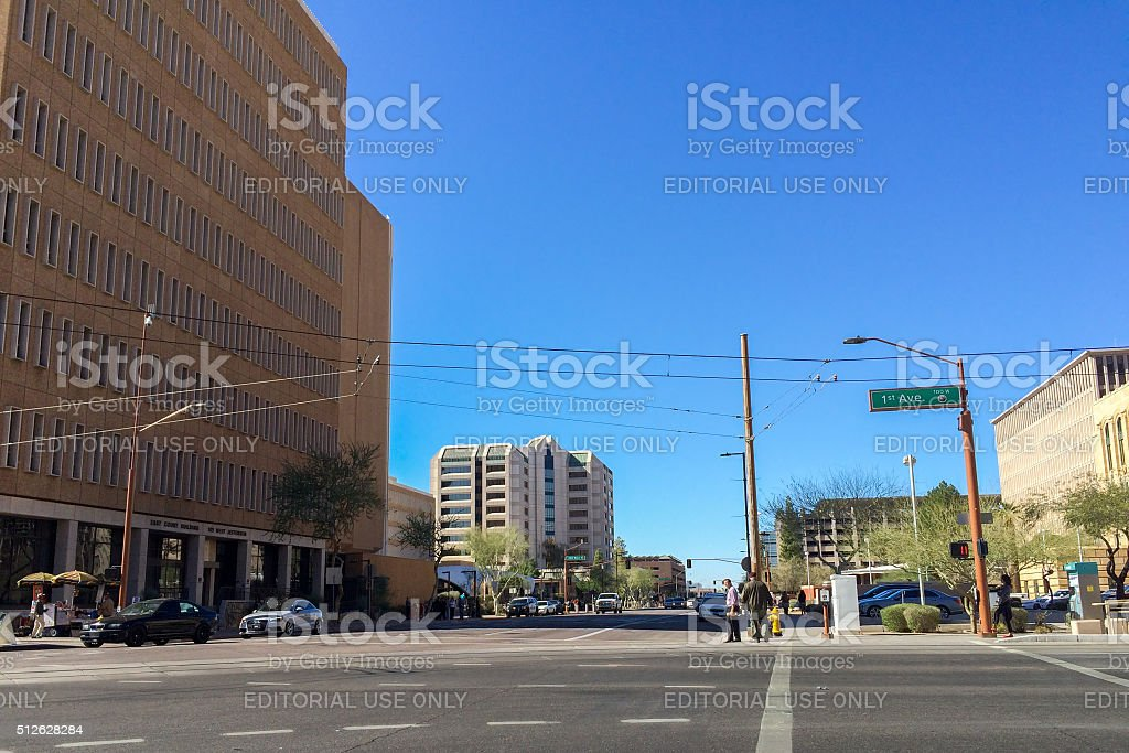 1st Ave and Jefferson St, Phoenix, AZ stock photo