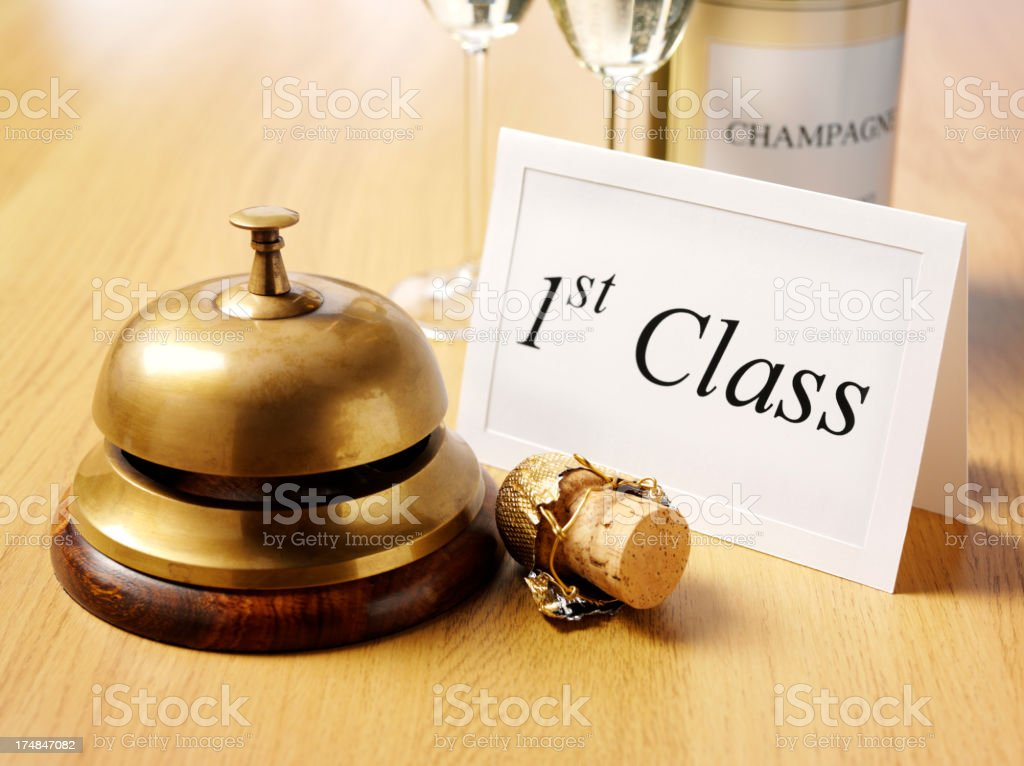 1st Class Invitation by the Concierge Bell royalty-free stock photo