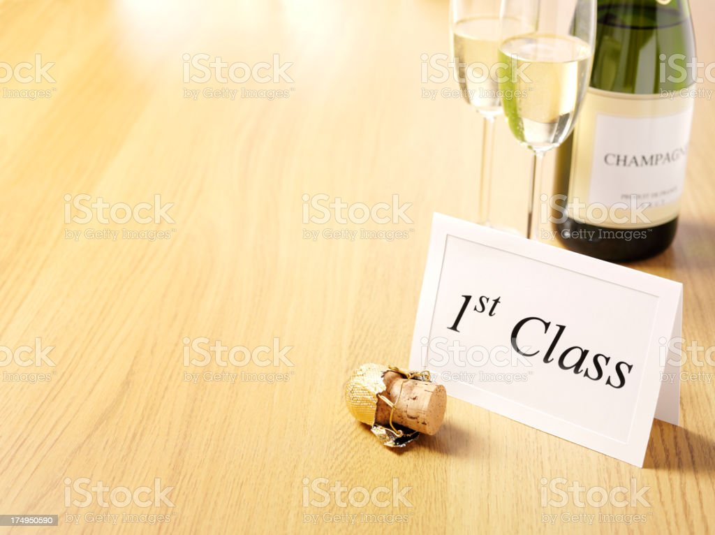 1st Class Invitation Card with Champagne Glasses and Bottle royalty-free stock photo