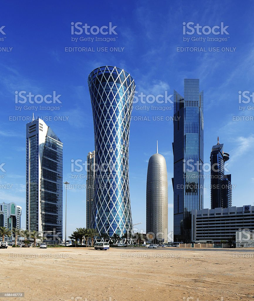 200m tall 'Tornado Tower' in the West Bay of Doha stock photo