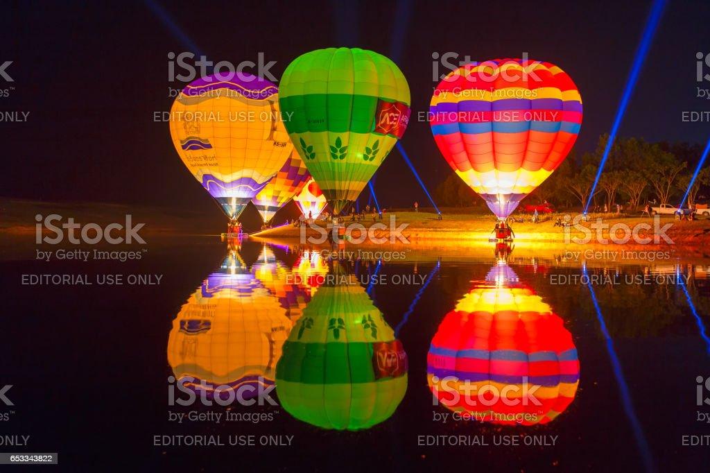 CHIANG RAI, THAILAND FEBRUARY 13, 2016:Singha Park Chiang Rai Balloon Fiesta 2016 will take place between February 10th and 14th at Singha Park Chiang Rai stock photo
