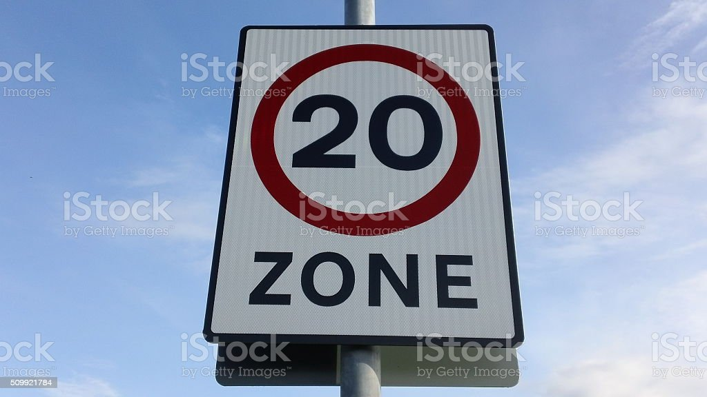 20mph speed limit road traffic sign stock photo