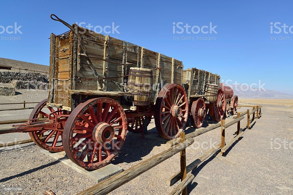 20-Mule Team Borax. Old wagon in Death Valley stock photo