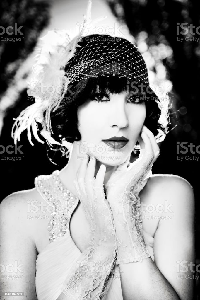 20s style black and white portrait royalty-free stock photo