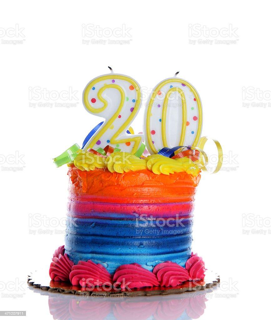 20th Birthday Cake royalty-free stock photo