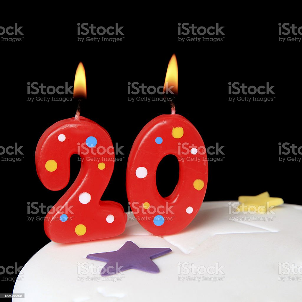 20th Birthday candles royalty-free stock photo