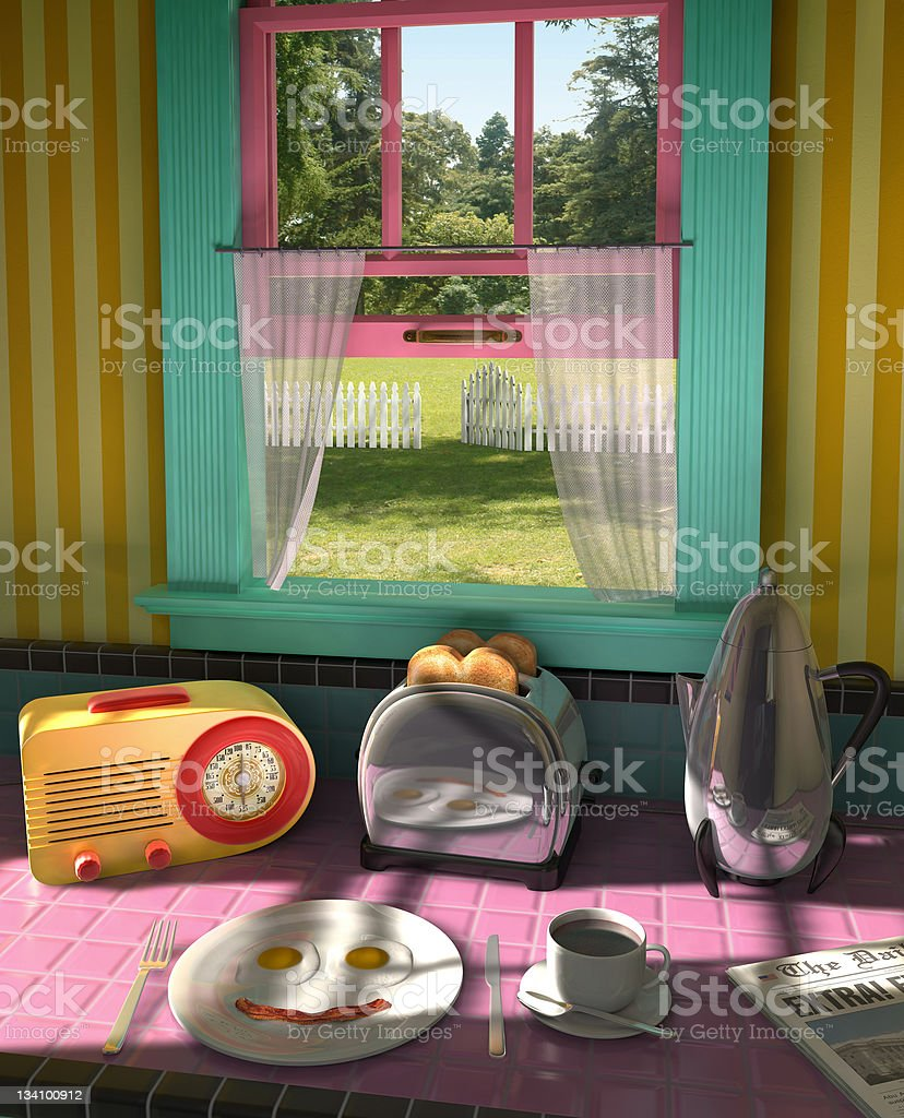20th Century Breakfast royalty-free stock photo