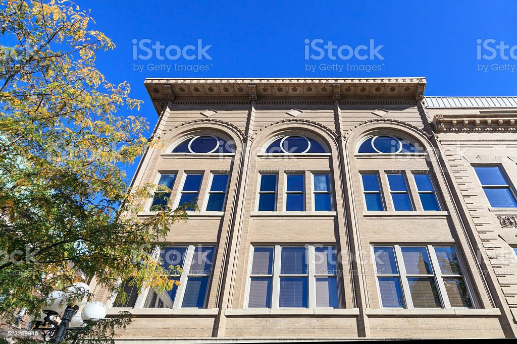 20th century brick building in Bloomington, Illinois stock photo