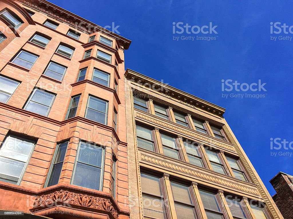 20th century historic brick building stock photo
