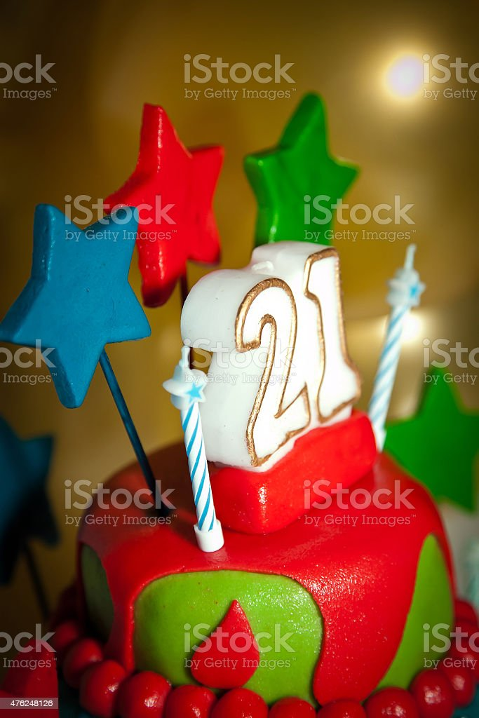 21st Birthday Cake with Candles stock photo
