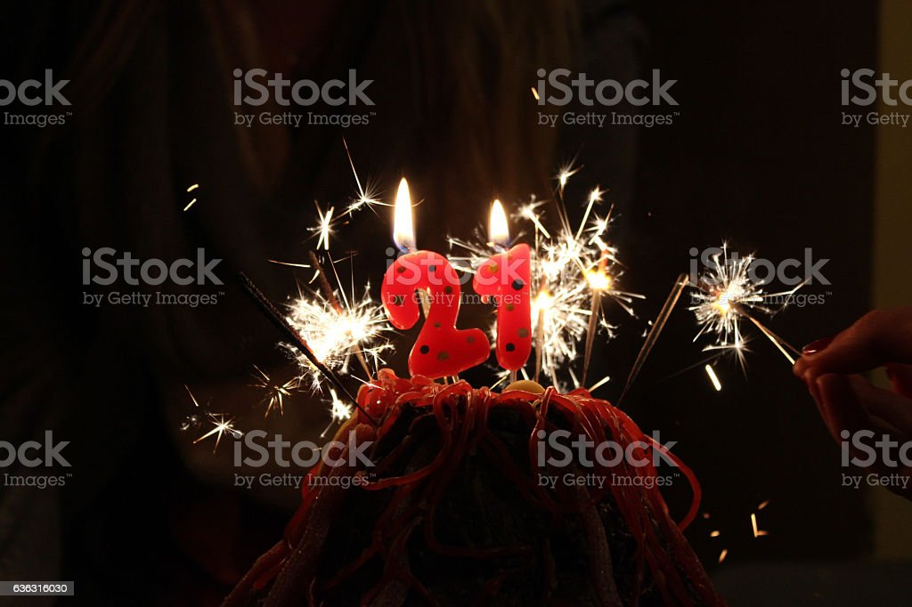 21st Birthday Candles, Cake stock photo