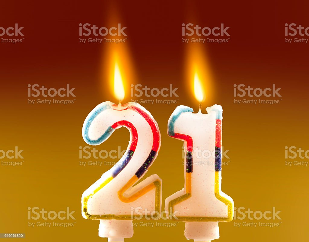 21st Birthday - Candles stock photo