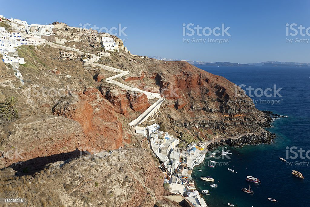 Oía Ammoudi Harbor, Santorini stock photo