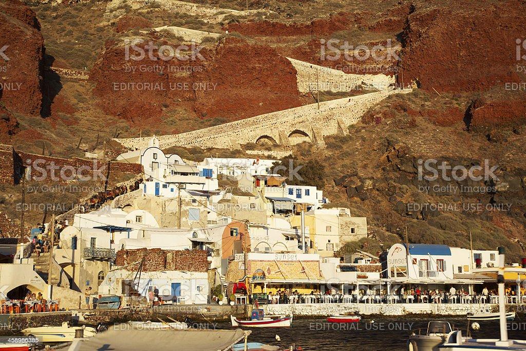 Oía Ammoudi Harbor, Santorini (Greece) stock photo