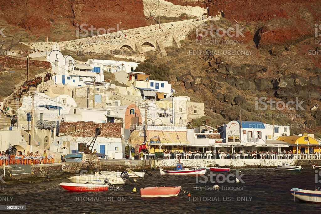 Oía Ammoudi Harbor, Santorini (Greece) royalty-free stock photo