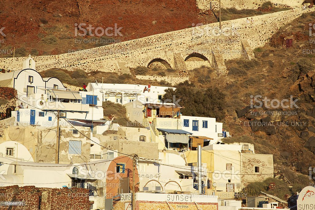 Oía Ammoudi with staircase used by donkeys for bringing tourists stock photo