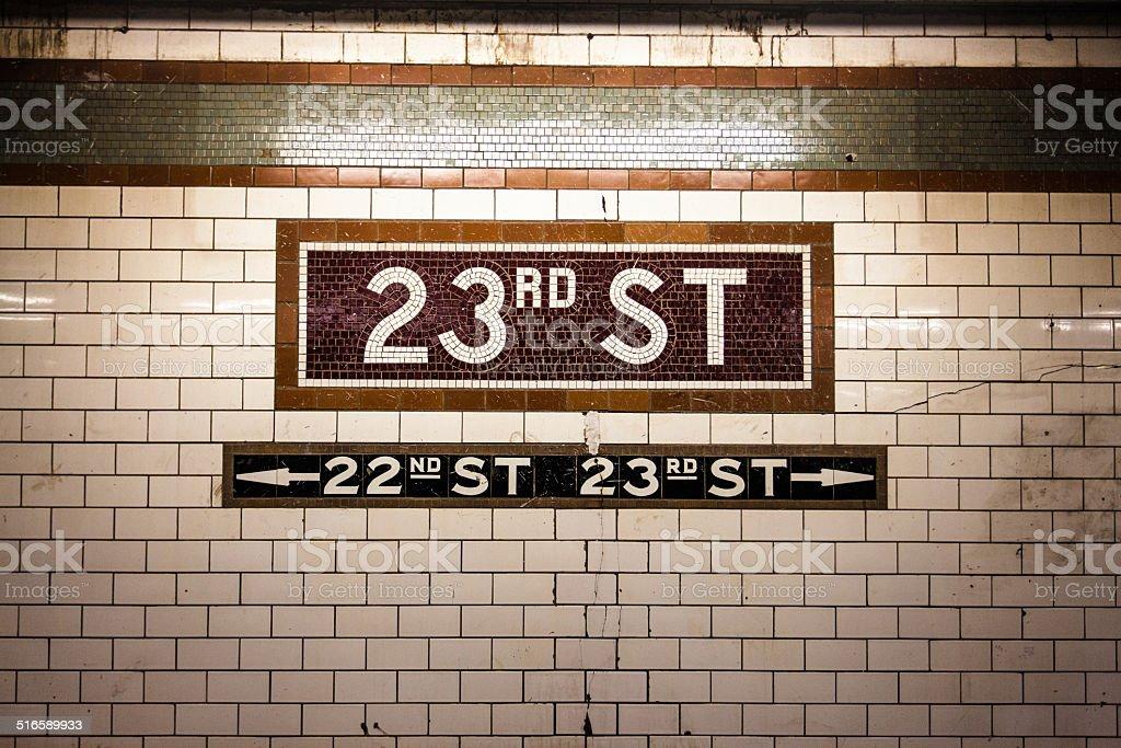 23rd Street Subway Tiles stock photo