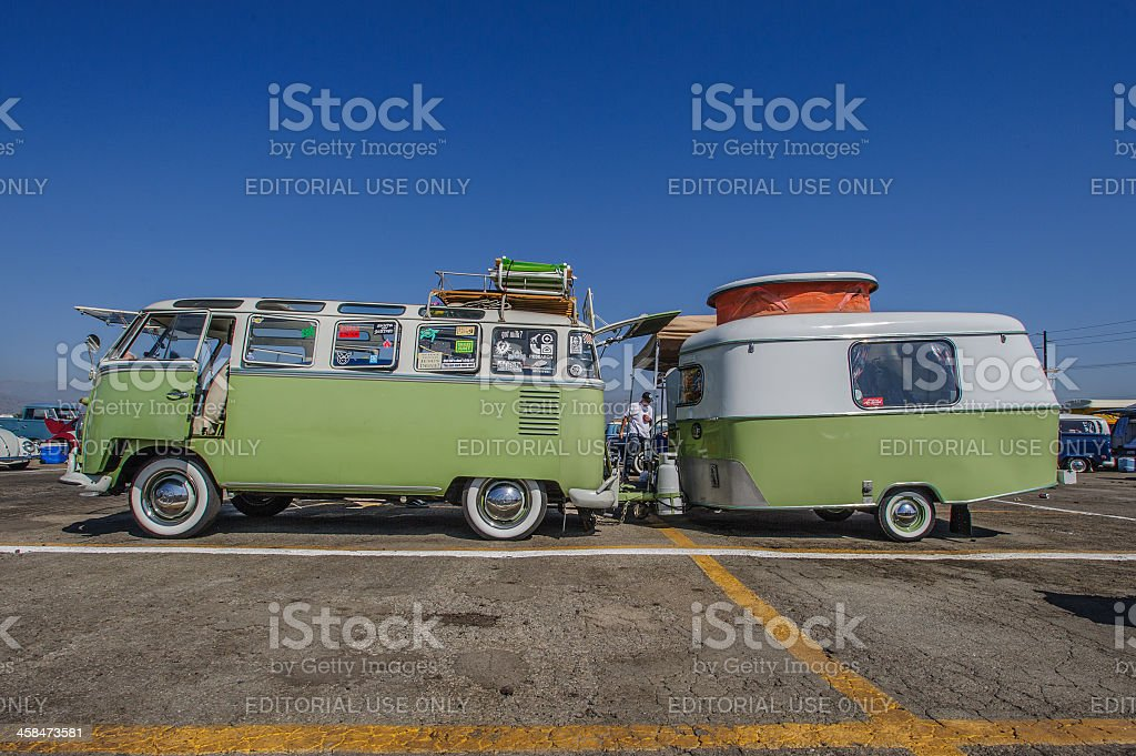 VW 23-Window Deluxe Microbus (1959) and Camper Trailer (1970) stock photo