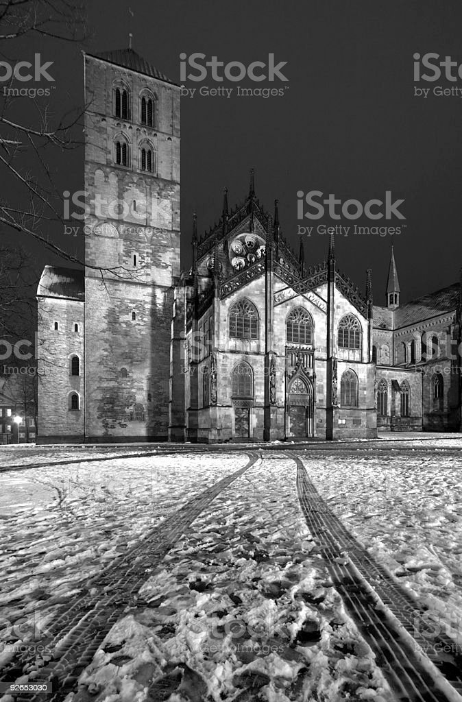 Münster Cathedral With Wheel Tracks royalty-free stock photo