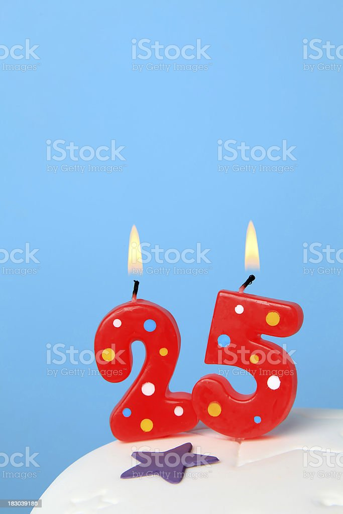 25th Birthday candles stock photo