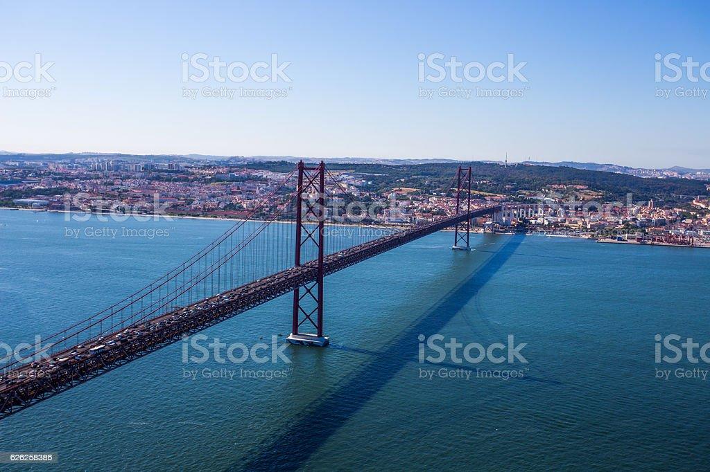 25th of April Suspension Bridge over the Tagus Lisbon, Portugal stock photo
