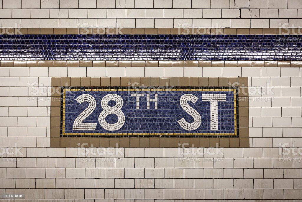 28th Street Subway Sign stock photo