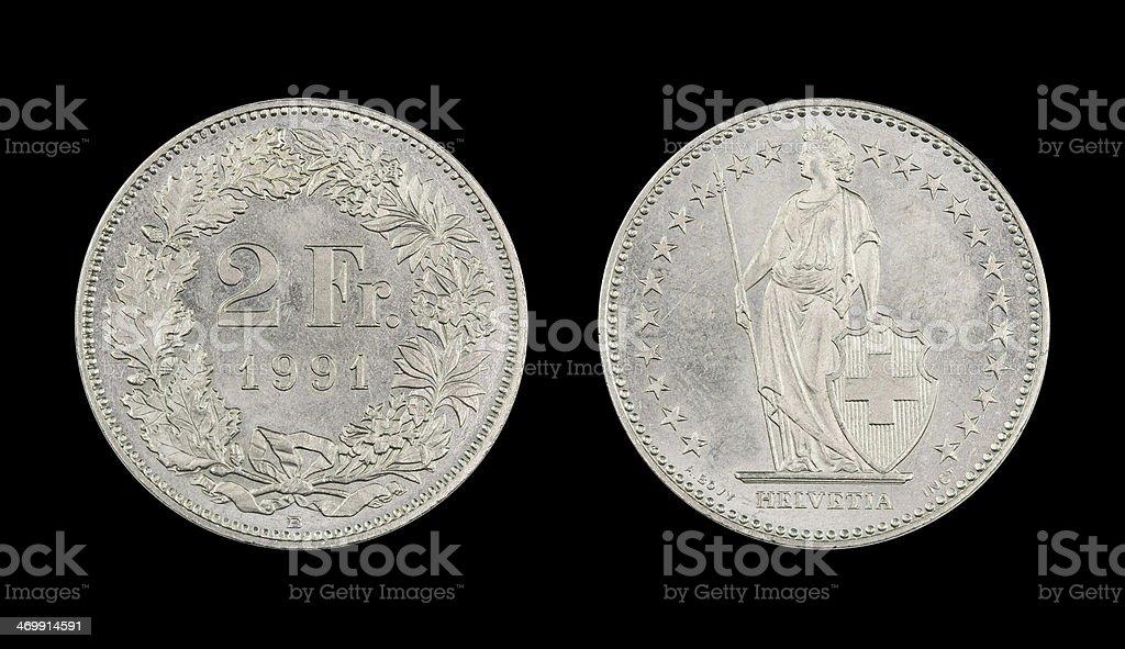 2-Franc-Coin, Switzerland, 1991 stock photo