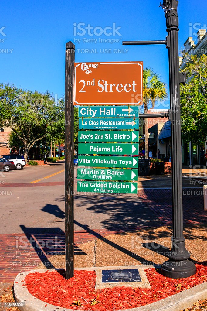 2nd Street sign in downtown Fernandina Beach City in Florida stock photo