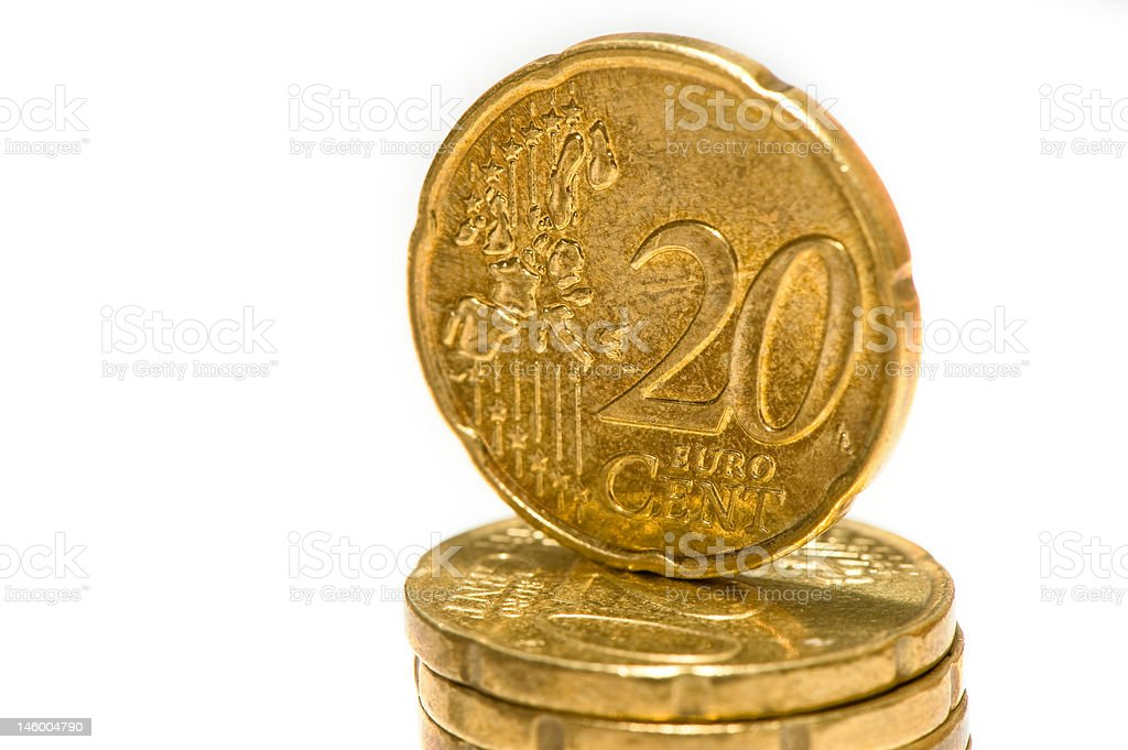 2o eurocent coin on pile stock photo