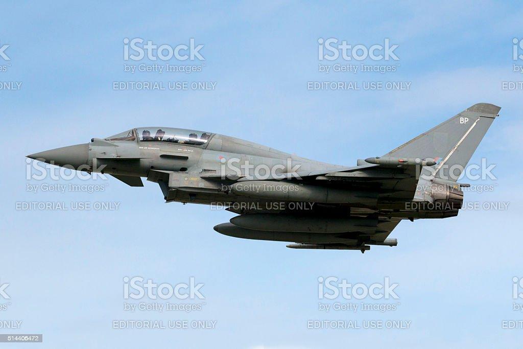 2-seat Eurofighter Typhoon take off stock photo