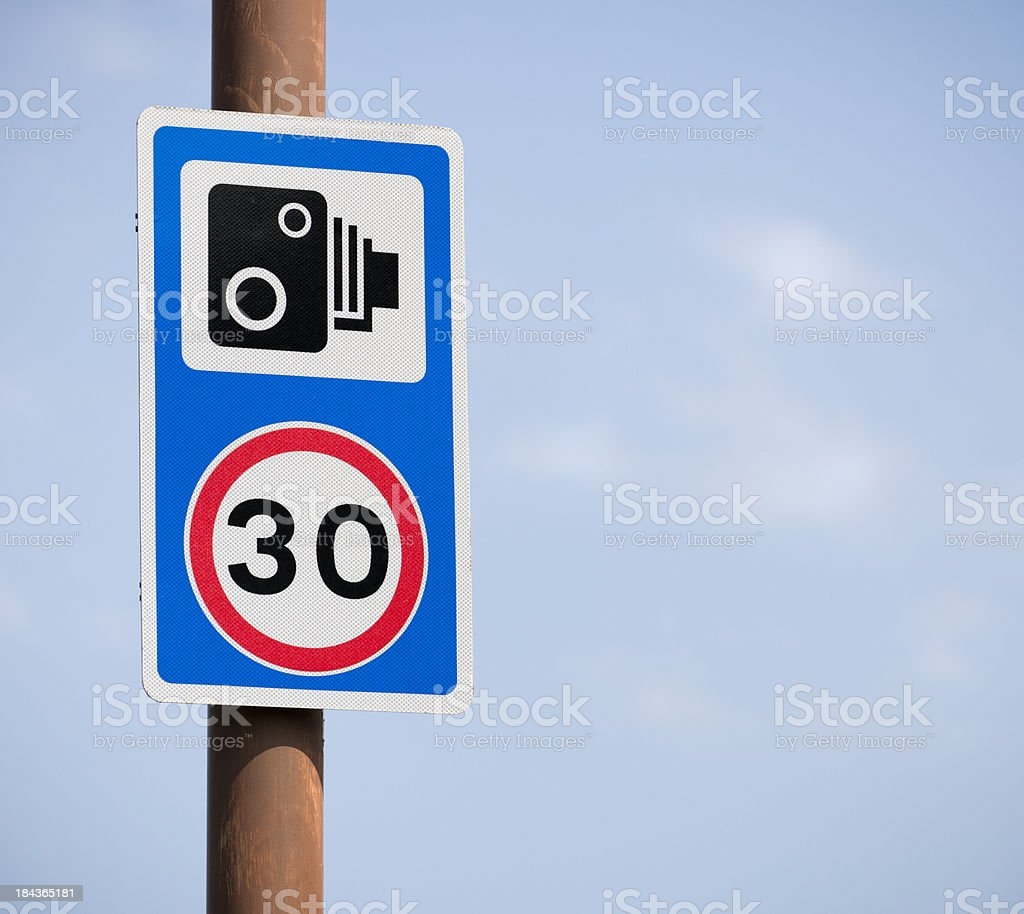 30mph Speed Limit and Camera Warning Sign royalty-free stock photo