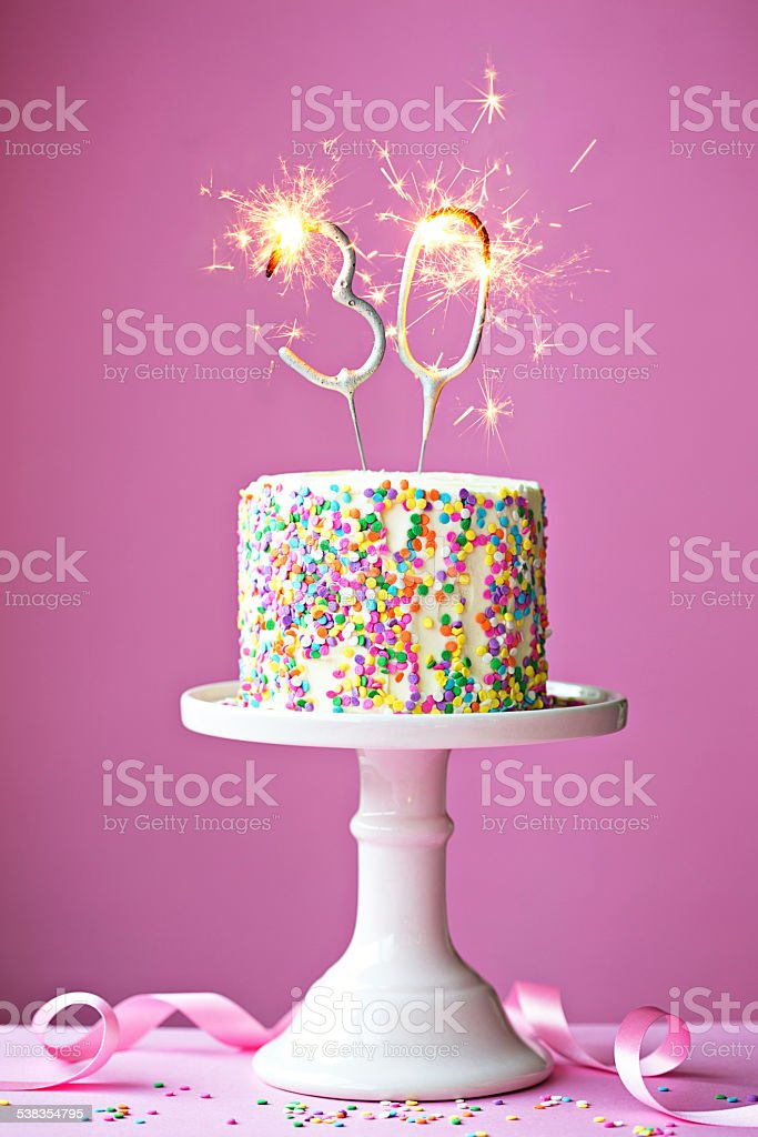 30th birthday cake stock photo