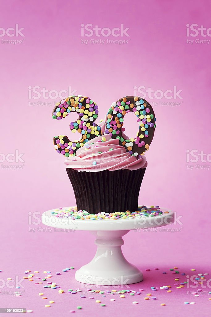 30th birthday cupcake stock photo