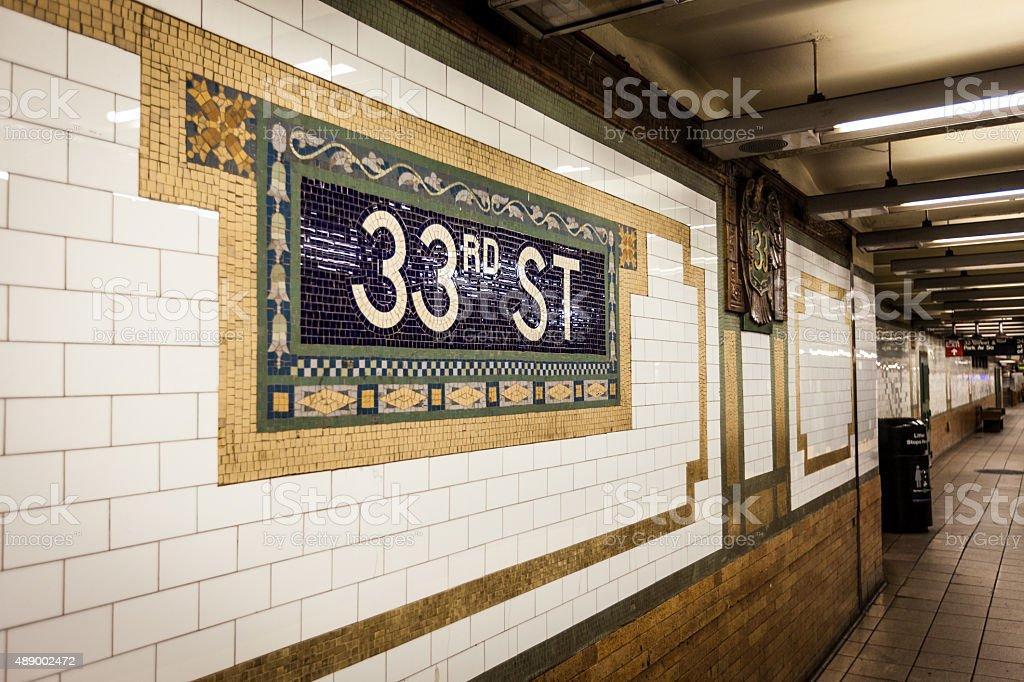 33rd Street Subway Stop - Mosaic Tile Artwork stock photo