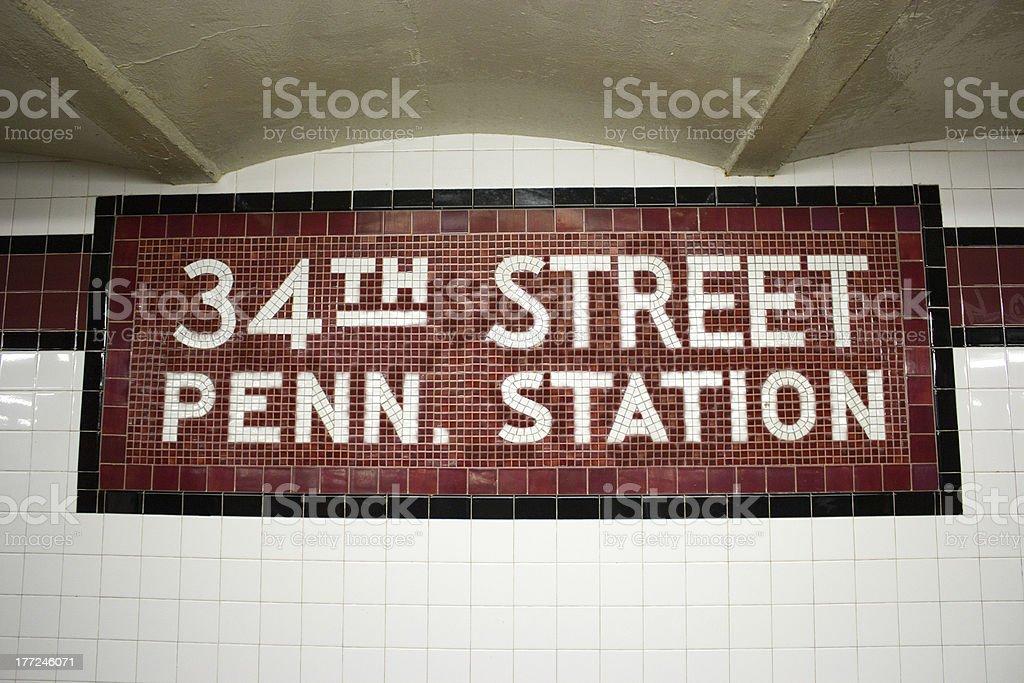 34th St. Subway Station, NYC royalty-free stock photo