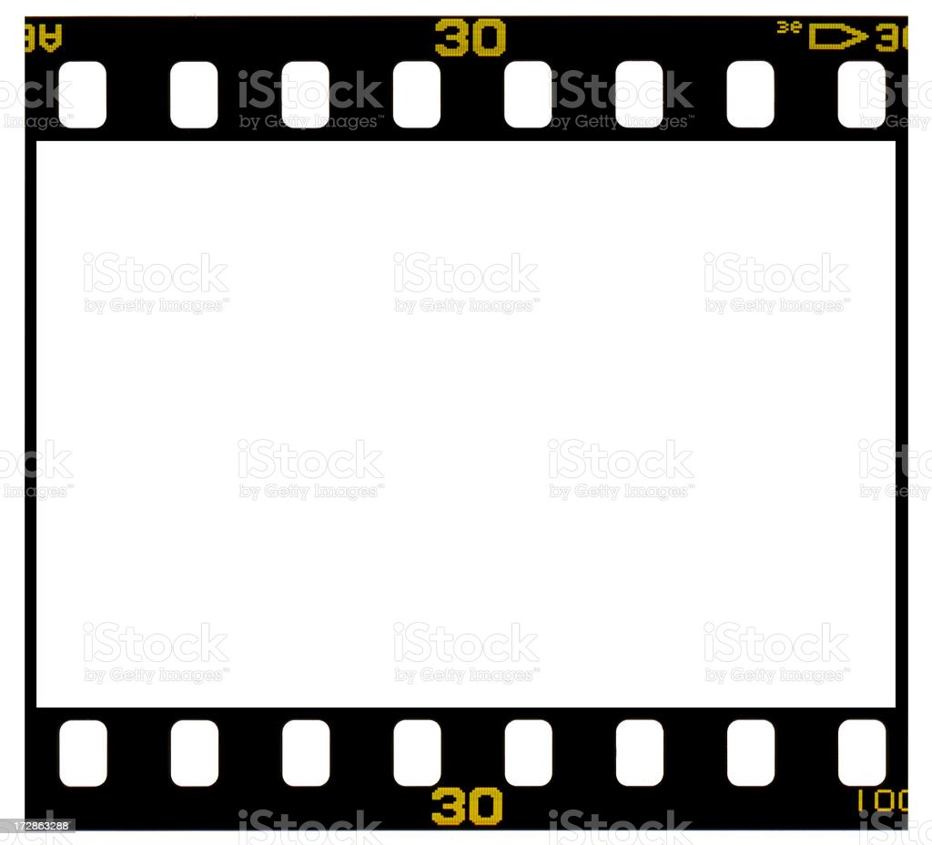 35mm Color Positive Slide Film Frame isolated on white. stock photo