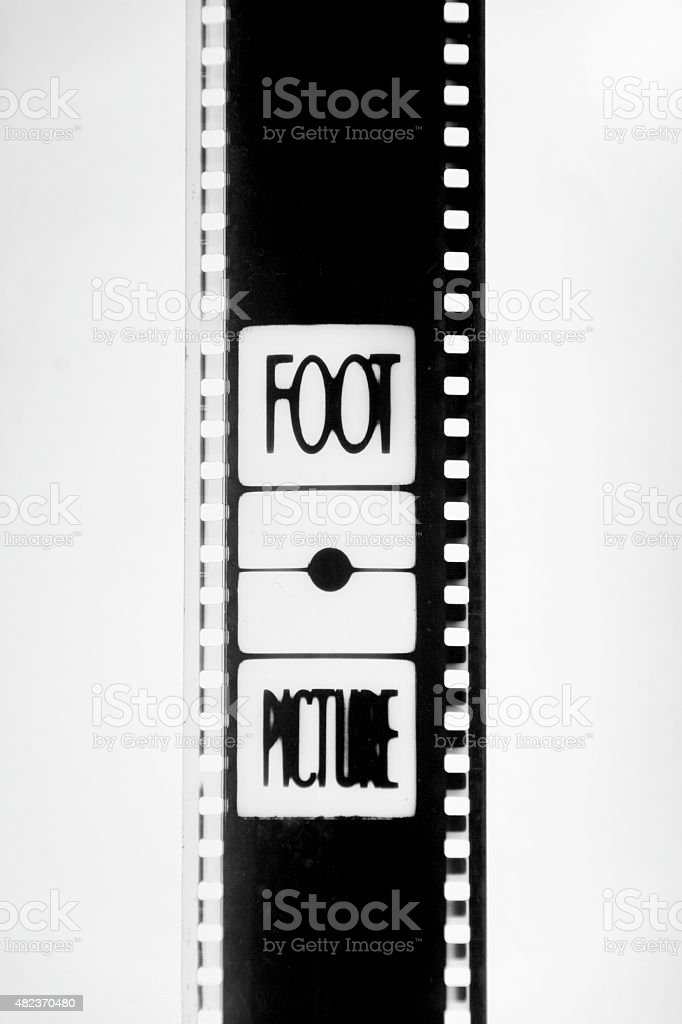 35mm film in black and white with the word foot stock photo