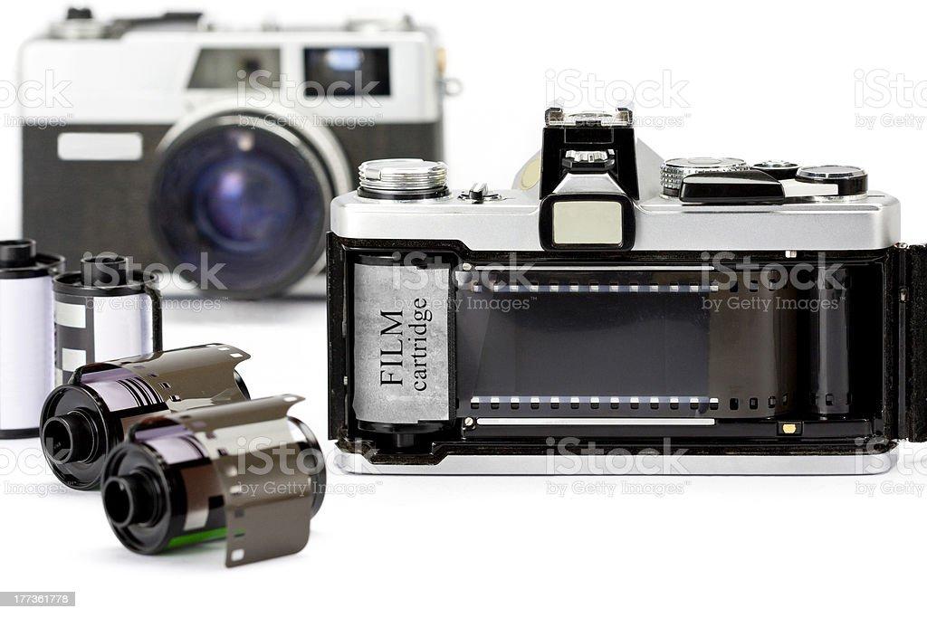 35mm film loading in camera stock photo
