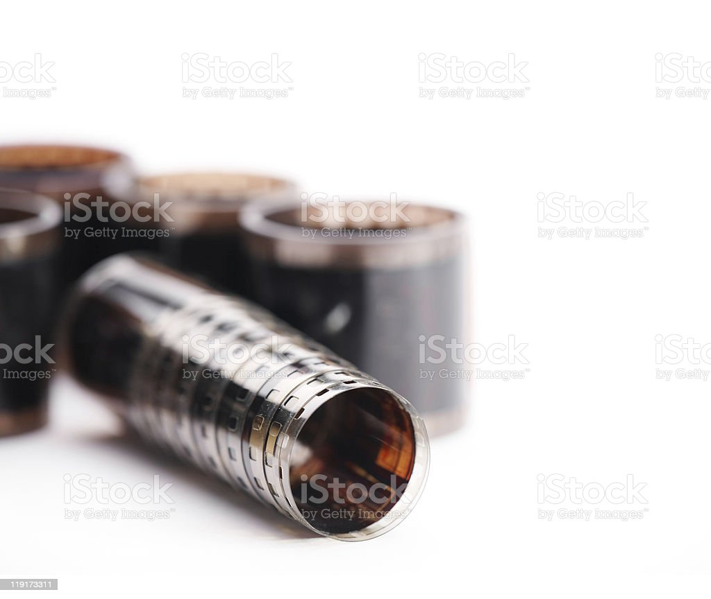 35mm film rolls in a stack. royalty-free stock photo