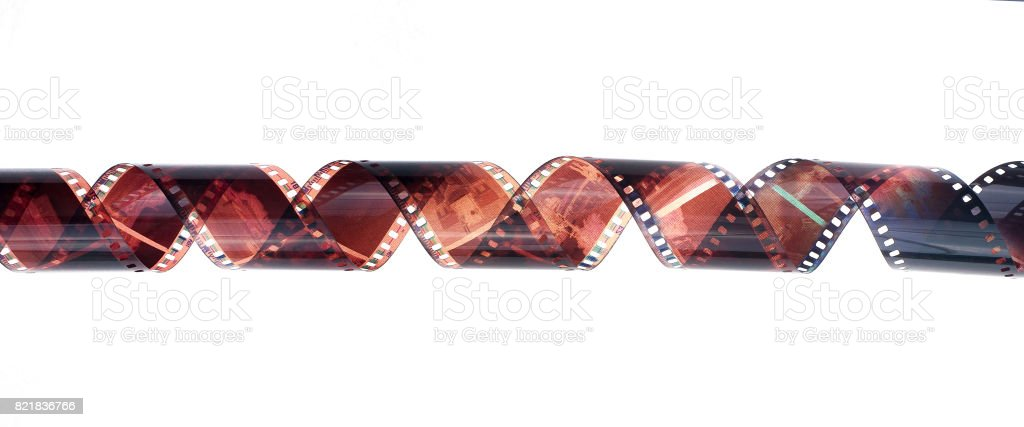 35mm film strip isolated on white background stock photo