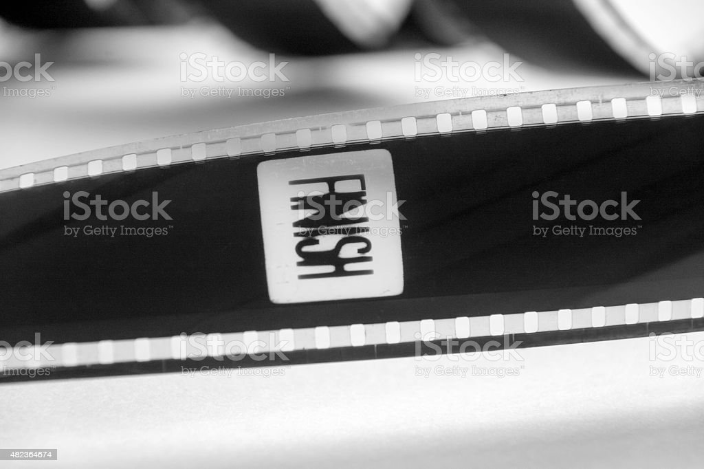 35mm film with the word finish stock photo
