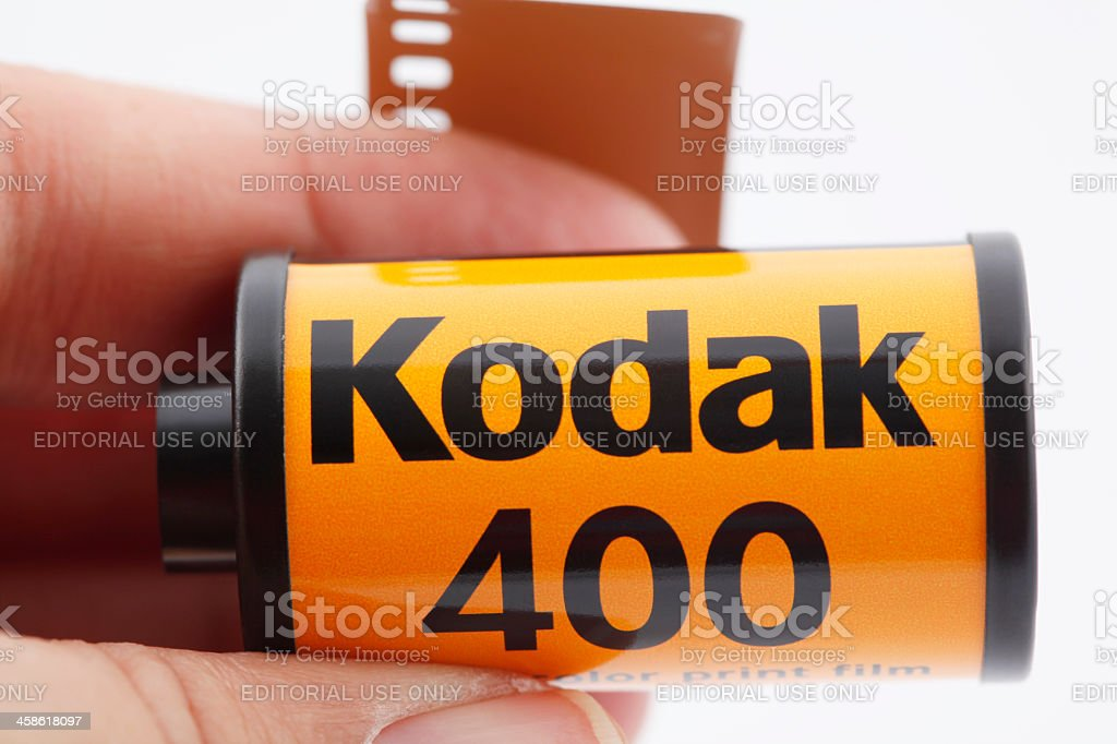 35mm Kodak Camera Film in hand stock photo