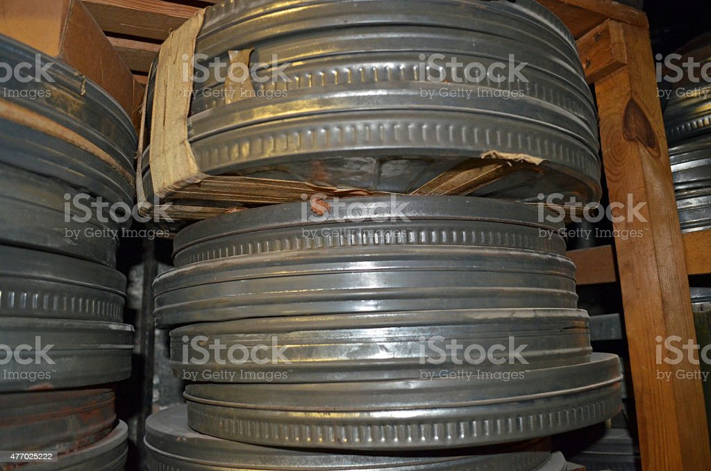 35mm movie canisters stock photo