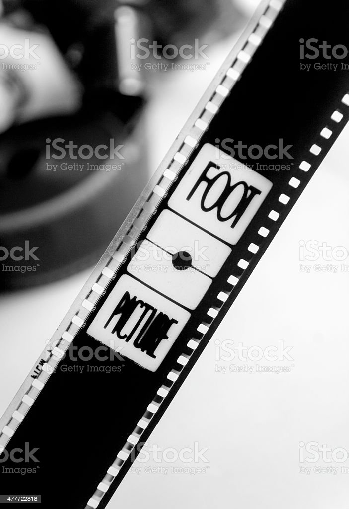 35mm movie film with the word foot stock photo