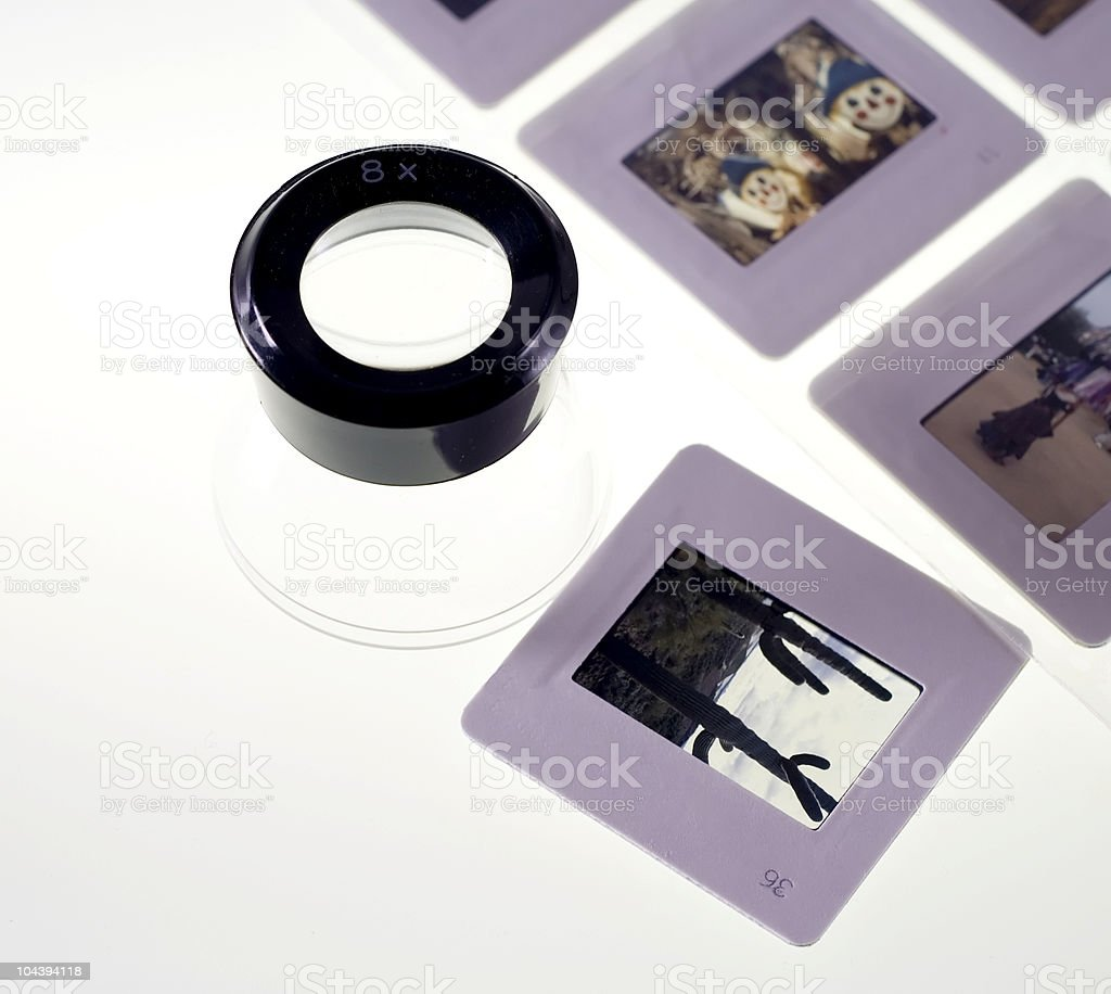 35mm slides on lightbox royalty-free stock photo