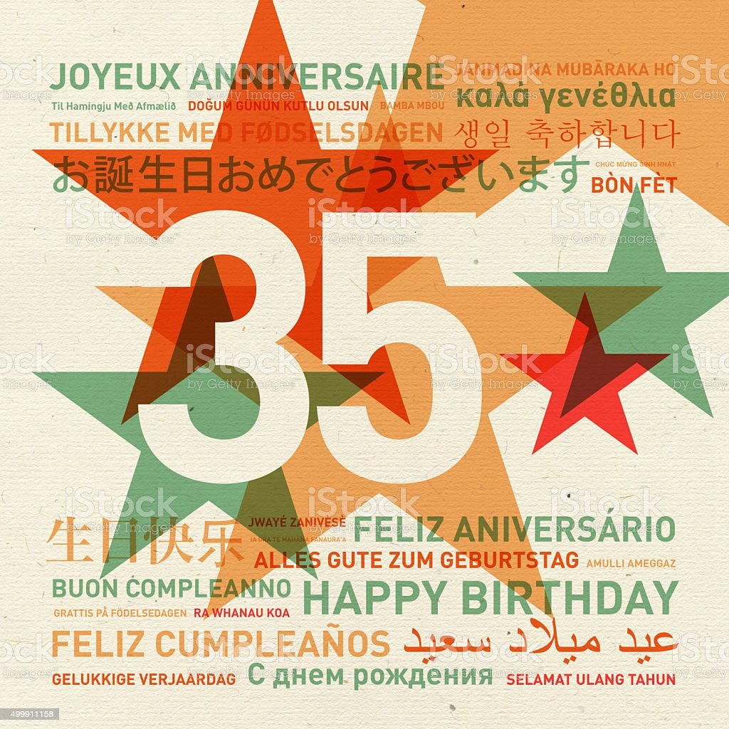 35th anniversary happy birthday card from the world stock photo