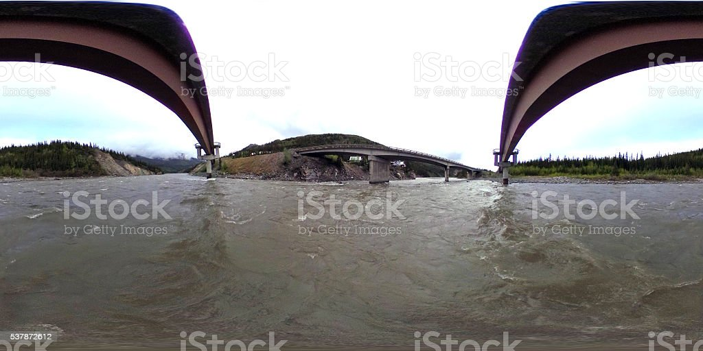 360-degree view over the Nenana River, Alaska stock photo
