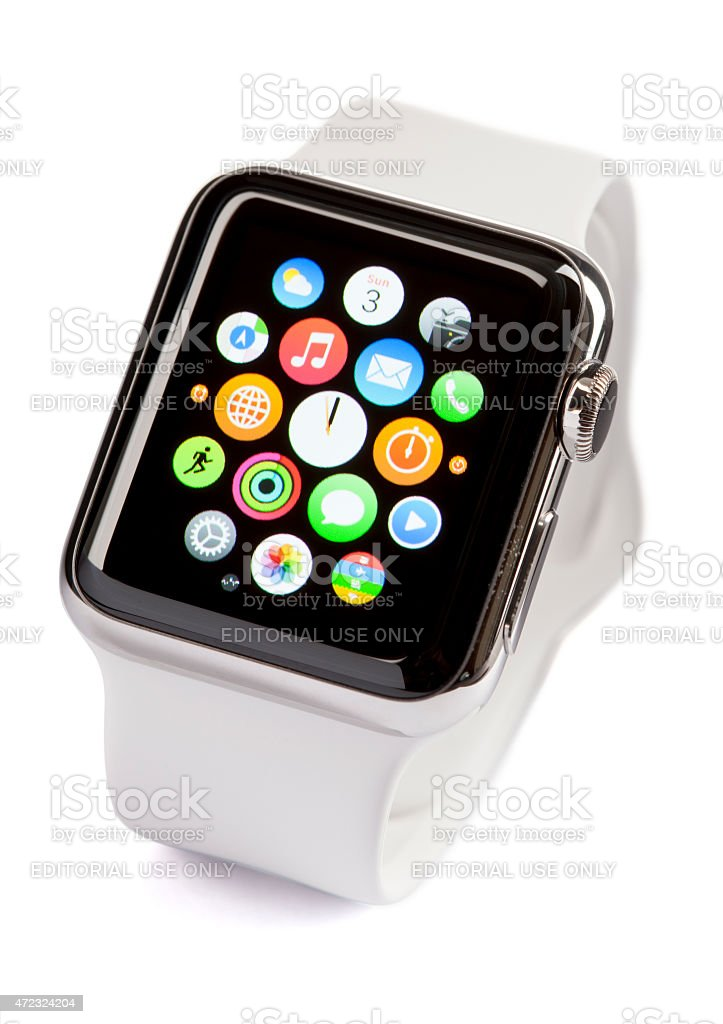 APPLE WATCH 38mm Stainless Steel White Sport Band with ClippingPath stock photo
