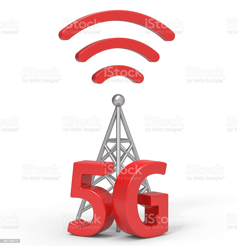 3d 5G with antenna, wireless communication technology stock photo